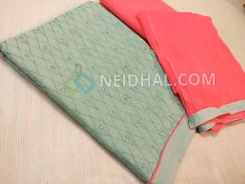 Pale Greenish Grey cotton unsitched salwar material(requries lining) with embroidery work and sequins work on front side, plain back, Peach cotton bottom, Peach nazneed dupatta with taping