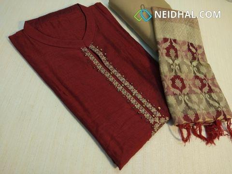 Designer Maroon Silk Cotton unstiched salwar material(requires lining) with neck pattern, zari, sequins and pipe work on front side, plain back, Beige silk cotton bottom, Golden zari benaras weaving dupatta with tassels.