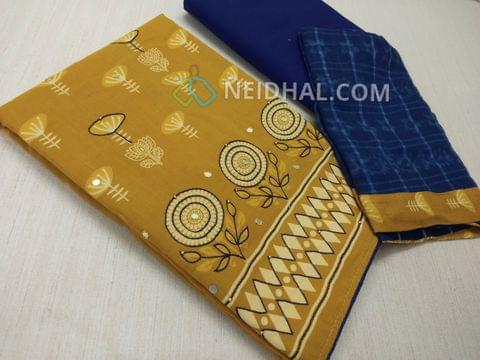Printed Mehandi Yellow Soft Cotton unsitched salwar material(lining required) with thread work on front side, Blue cotton bottom, printed Blue cotton dupatta with taping