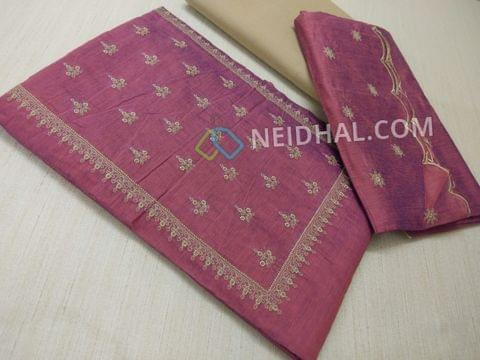 Pink Silk cotton unstiched salwar material(requires lining) with embroidery work on yoke, embroidery work on front side, plain back, beige cotton bottom, Pink silk cotton dupatta with embroidery work taping