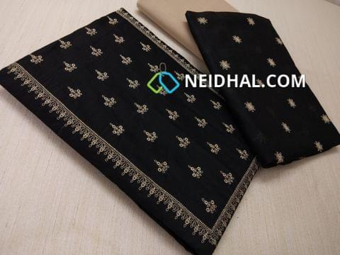 Black Silk cotton unstiched salwar material(requires lining) with embroidery work on yoke, embroidery work on front side, plain back, beige cotton bottom, Black silk cotton dupatta with embroidery work taping
