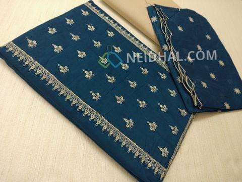 Blue Silk cotton unstiched salwar material(requires lining) with embroidery work on yoke, embroidery work on front side, plain back, beige cotton bottom, Blue silk cotton dupatta with embroidery work taping