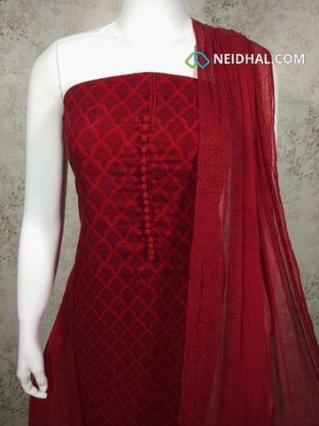 Printed Red Satin Cotton Unstitched salwar material with potli buttons on yoke, red cotton bottom, printed red chiffon dupatta with tapings.