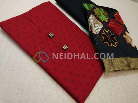 Red Silk Cotton unstitched salwar material(requires lining) with black thread work, Fancy buttons, Black cotton bottom, Heavy multi color embroidery work on silk cotton dupatta with zari taping and tassels