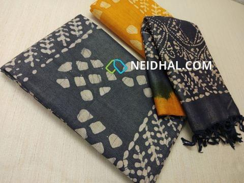 Batik Printed Blue Bhagalpuri cotton silk(thick fabric, lining not required), Yellow Bhagalpuri cotton silk with prints at bottom side, Dual color Bhagalpuri Cotton silk dupatta with batick prints and tassels.