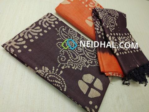 Batik Printed Purplelish Blue Bhagalpuri cotton silk(thick fabric, lining not required), Orange Bhagalpuri cotton silk with prints at bottom side, Dual color Bhagalpuri Cotton silk dupatta with batick prints and tassels.