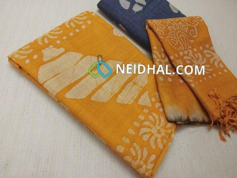 Batik Printed Yellow Bhagalpuri cotton silk(thick fabric, lining not required), Blue Bhagalpuri cotton silk with prints at bottom side, Dual color Bhagalpuri Cotton silk dupatta with batick prints and tassels.