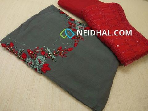 Designer Greyish Blue Georgette unsitched salwar material(requires lining) with Heavy thread Thread and pipe work on yoke,  Red cotton bottom, Heavy thread and sequins work on Red Chiffon duaptta with laces.