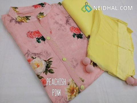 Designer Peachish Pink Pashmina linen unstitched Salwar material with Neck patten, Plain Back Side, Drum Dyed Yellow cotton bottom, Yellow Chiffon  dupatta with fancy tassels.