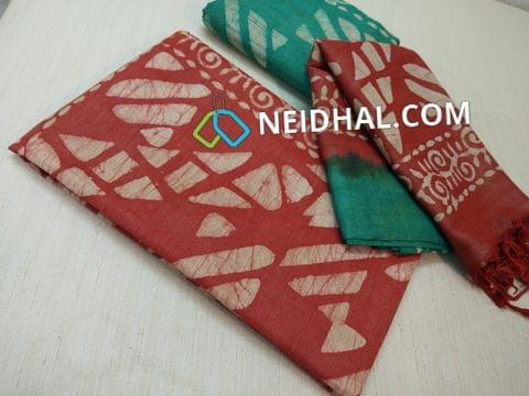 Batik Printed Brick Red Bhagalpuri cotton silk(thick fabric, lining not required), Green Bhagalpuri cotton silk with prints at bottom side, Dual color Bhagalpuri Cotton silk dupatta with batick prints and tassels.