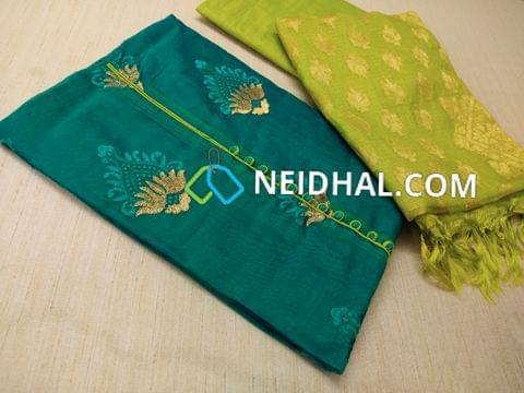 Designer Blue Chanderi Silk Cotton unstitched salwar material(Requires lining) with potli buttons, thread and zari embroidery work on front side, Green Silk Cotton bottom, Green Kota dupatta with zari weaving and tassels.
