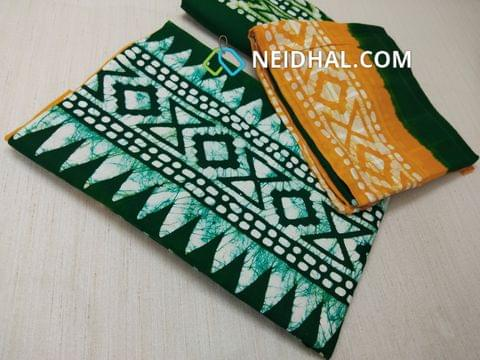 Yellow Cotton unstitched salwar material(requires lining) with batik Printed , Gren cotton bottom, batik printed Dual color cotton dupatta.(requires taping)