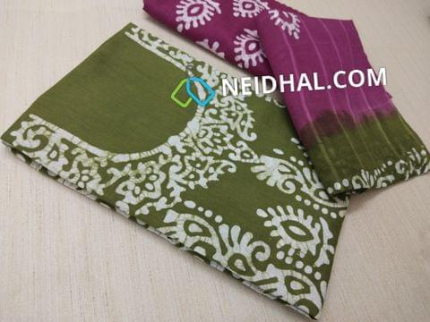 Green Cotton unstitched salwar material(requires lining) with batik Printed , Purple cotton bottom, batik printed Dual color cotton dupatta.(requires taping)