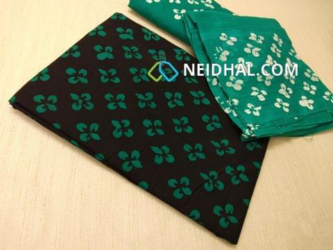 Black Cotton unstitched salwar material(requires lining) with batik Printed , Green cotton bottom, batik printed Dual color cotton dupatta.(requires taping)