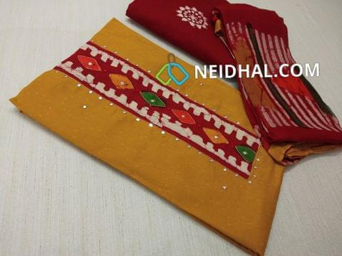 Premium Yellow Jaquard Soft cotton Unstitched salwar material(requires lining) with Batik patch on yoke, with thread work, faux mirror work and french knot work on patch, daman patch, Red cotton bottom with batik dye, Batik dyed Pure chiffon dupatta with taping