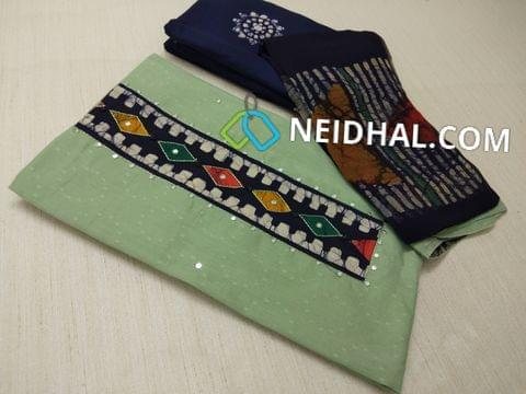 Premium Pale Green Jaquard Soft cotton Unstitched salwar material(requires lining) with Batik patch on yoke, with thread work, faux mirror work and french knot work on patch, daman patch, Blue cotton bottom with batik dye, Batik dyed Pure chiffon dupatta with taping
