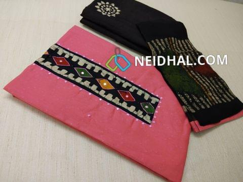 Premium PINK Jaquard Soft cotton Unstitched salwar material(requires lining) with Batik patch on yoke, with thread work, faux mirror work and french knot work on patch, daman patch, Black cotton bottom with batik dye, Batik dyed Pure chiffon dupatta with taping