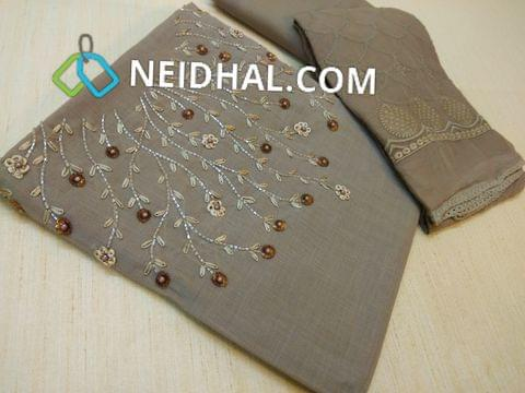 Designer Grey Silk Cotton unstitched salwar material(requires lining) with Heavy bead, sequins and pipe work on yoke, tafeta Botttom, Heavy work Chiffon dupatta with embroidery work and taping