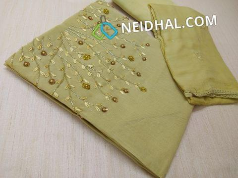 Designer Khaki Green Silk Cotton unstitched salwar material(requires lining) with Heavy bead, sequins and pipe work on yoke, tafeta Botttom, Heavy work Chiffon dupatta with embroidery work and taping