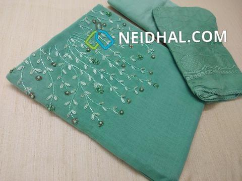 Designer Blue Silk Cotton unstitched salwar material(requires lining) with Heavy bead, sequins and pipe work on yoke, tafeta Botttom, Heavy work Chiffon dupatta with embroidery work and taping