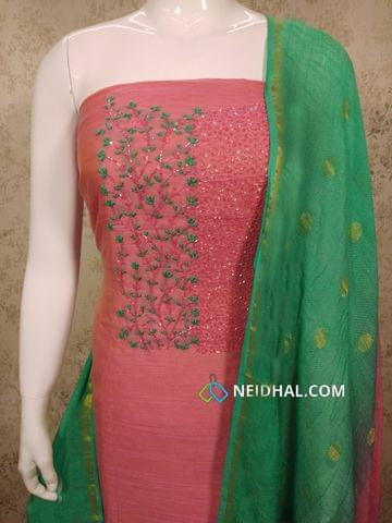 Designer Pink Slub Silk Cotton unstitched Salwar material with pipe and french knot hand work on yoke, woven jackqurd cotton bottom, Dual color zari weaving soft lenin cotton dupatta with tassels