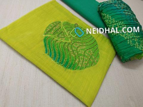 (PRE ORDER CAN SHIP ON 9TH OCT ONLY) Green Dupian Silk Cotton unstitched salwar material with patch work and bead work on yoke, Green Cotton bottom, Colorful bandhini printed crush dupatta