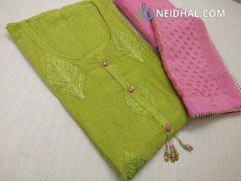 Parrot Green Chanderi unstiched salwar material(requires lining) with heavy thread work and zari work on front side, plain back, fancy buttons and tassels, pink silk cotton bottom, golden weaving on pink chiffon duappa with fancy borders.