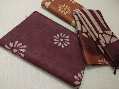 Batik Printed Maroonish Red Bhagalpuri cotton silk(thick fabric, lining not required), Brownish Yellow Bhagalpuri cotton silk with prints at bottom side, Dual color Bhagalpuri Cotton silk dupatta with batick prints and tassels.