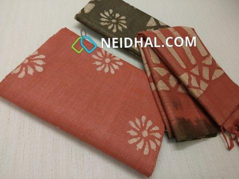 Batik Printed Peach Bhagalpuri cotton silk(thick fabric, lining not required), Green Bhagalpuri cotton silk with prints at bottom side, Dual color Bhagalpuri Cotton silk dupatta with batick prints and tassels.