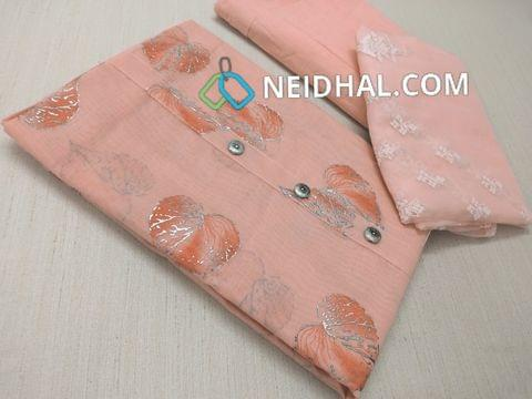 Floral Printed Peach Silk cotton unstiched salwar material(requires lining) with fancy buttons on yoke, Peach thin soft cotton bottom, Peach Organza dupatta with thread work and lace taping
