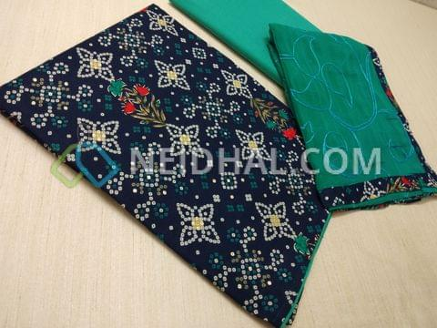 Bhandini printed Blue cotton unstitched Salwar material, with golden prints, Turquoise Blue cotton bottom, Embroidery work on Turquoise blue chiffon dupatta with taping