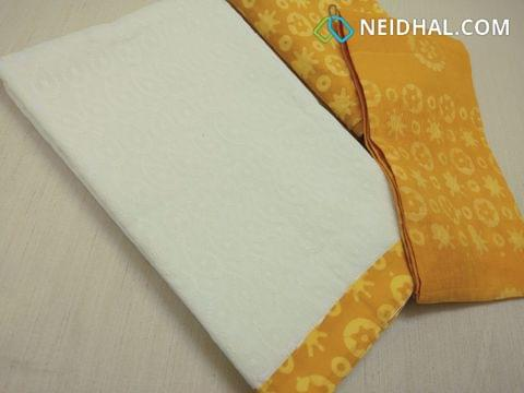 White Cotton Unstitched salwar material(requires lining) with Heavy chikan Work(embroidery design might vary), daman patch, wax batik yellow cotton bottom, wax batik yellow cotton dupatta.(requires taping)