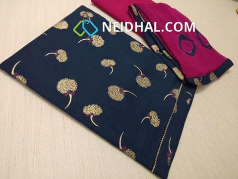 Golden Printed Blue Cotton unstitched salwar material, Pink cotton bottom, Printed Pink chiffon dupatta with  taping
