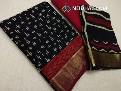 Block Printed Black Cotton Unstitched salwar material(there might be variations in print alignment, density due to manual work) , daman patch,  Red Cotton Bottom, Block printed (there might be variations in print alignment, density due to manual work) cotton dupatta.(requires taping)