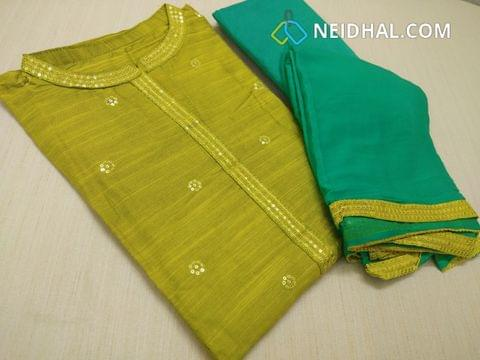Designer Mehandi Green Dupian Silk Cotton unstitched Salwar Material(requires lining) with Sequins work on front side, yoke and around neck, plain back side, Sequins work on daman , turquoise blueish Green silk cotton bottom, turquoise blueish Green chiffon dupatta with tapings.