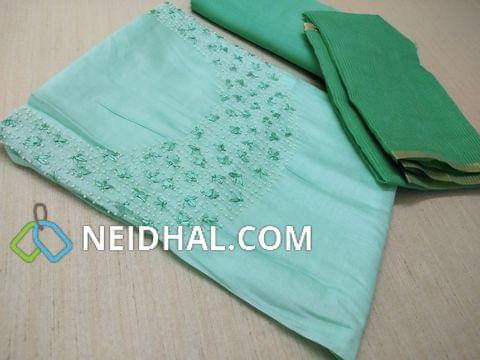 Designer Blue Soft silk Unstitched salwar material(Soft  and thin Material Requires lining) with embroidery and bead work on yoke, Soft Santoon bottom, Kota super net dupatta with zari and tassels