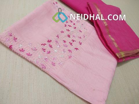 Designer Pink Soft silk Unstitched salwar material(Soft  and thin Material Requires lining) with embroidery and bead work on yoke, Soft Santoon bottom, Kota super net dupatta with zari and tassels