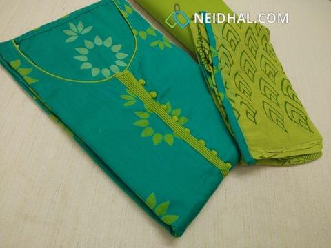 Printed Rama Blue Cotton unstitched salwar material with neck patterns and potli buttons on yoke, Green cotton bottom, Green chiffon dupatta with block prints and taping.