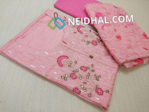 Diwali Collection: Designer Pink Soft Chanderi unstitched Salwar material(requires lining) with Sequins work, zari, gotta and thread work on front side, plain back, Pink Cotton bottom, Heavy floral embroidery work on Silk cotton Dupatta with taping.