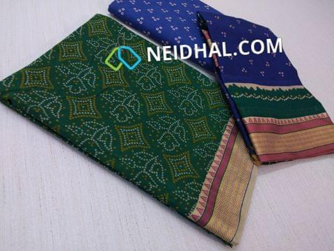 Bhandini Printed Green Soft cotton unsitched salwar material(requires lining) with traditional weaving daman, Printed Blue cotton bottom, PRinted multi color cotton dupatta(taping needs to be stitched)