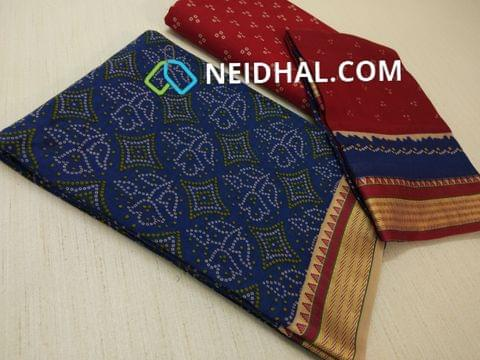 Bhandini Printed Blue Soft cotton unsitched salwar material(requires lining) with traditional weaving daman, Printed Red  cotton bottom, Printed multi color cotton dupatta(taping needs to be stitched)