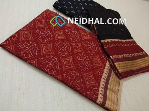 Bhandini Printed Red Soft cotton unsitched salwar material(requires lining) with traditional weaving daman, Printed Black cotton bottom, Printed multi color cotton dupatta(taping needs to be stitched)