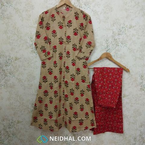Mughal Printed Beige and Pink Slub Cotton Kurta with Printed Palazo set, straight cut with buttons in centre front placket, (Refer Size chart, 2nd pic before ordering, No Refund, No Return, No exchange, No cancellation), Mandarin Collar, Height -44, 3/4 Sleeves with flaps ,two side pocket, slip-on Bottom, Elasticated back waist band and front waist band for comfort fit, Flared palazo