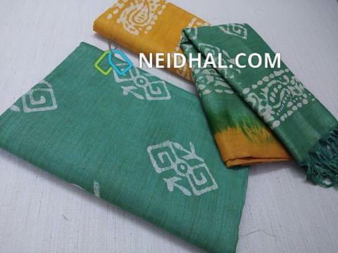 Batik Printed Green Bhagalpuri cotton silk(thick fabric, lining not required), Yellow Bhagalpuri cotton silk with prints at bottom side, Dual color Bhagalpuri Cotton silk dupatta with batick prints and tassels.