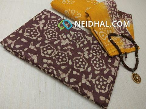 Batik Printed Maroonish Red Bhagalpuri cotton silk(thick fabric, lining not required), Yellow Bhagalpuri cotton silk with prints at bottom side, Dual color Bhagalpuri Cotton silk dupatta with batick prints and tassels.