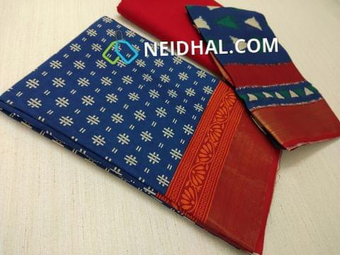 Block Printed Blue Cotton Unstitched salwar material(there might be variations in print alignment, density due to manual work) , daman patch,  red Cotton Bottom, Block printed (there might be variations in print alignment, density due to manual work) cotton dupatta.(requires taping)
