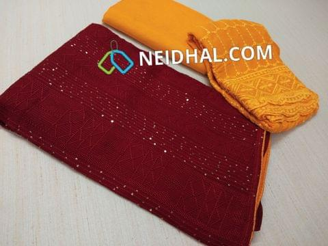 Designer Maroonish Red Georgette unstitched salwar material(requires lining) with heavy embroidery work and sequins work on front side, plain back, Yellow Tafetta bottom, heavy sequins and thread work on chiffon dupatta .with tapping.