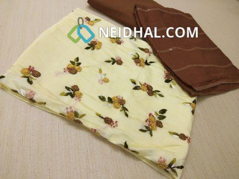 Designer Pale Yellow Soft Silk Cotton unstitched salwar material(requires lining) with heavy colorful Spring work on yoke, Brown tafeeta bottom, Pure chiffon dupatta with thread and sequins work