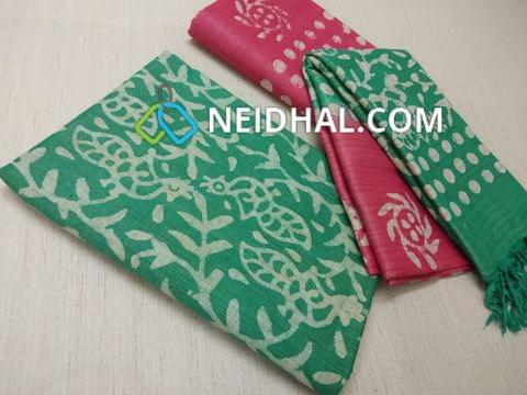 Batik Printed Green Bhagalpuri cotton silk(thick fabric, lining not required), Pink Bhagalpuri cotton silk with prints at bottom side, Dual color Bhagalpuri Cotton silk dupatta with batick prints and tassels.