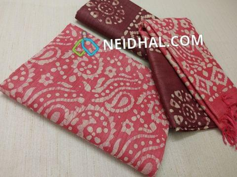 Batik Printed Pink Bhagalpuri cotton silk(thick fabric, lining not required), Maroonish Red Bhagalpuri cotton silk with prints at bottom side, Dual color Bhagalpuri Cotton silk dupatta with batick prints and tassels.